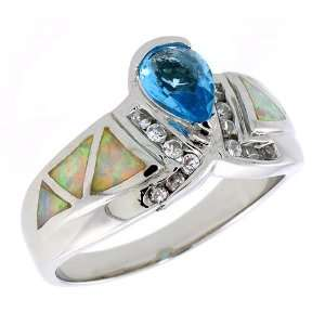 Sterling Silver, Synthetic Pink Opal Ring, w/ Pear Shape Blue Topaz CZ