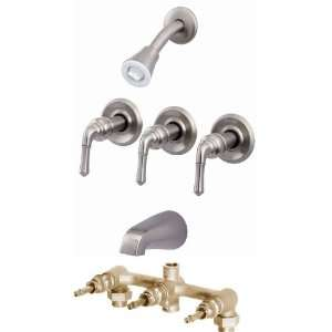 Brushed/Satin Nickel 3 Handle Bath Tub Shower Faucet