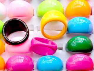 50pcs wholesale jewelry mixed lots Lucite resin rings jelly jewellery