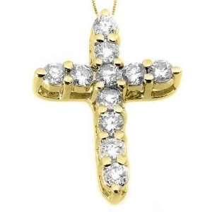 14k Yellow Gold Diamond Cross Pendant 1.10 Carats Jewelry