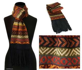 EARTHY TREASURE ~Warm Alpaca Wool Scarf~Peru Art NOVICA