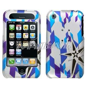 Silver with Purple Blue Black Digital Stars Design Snap On