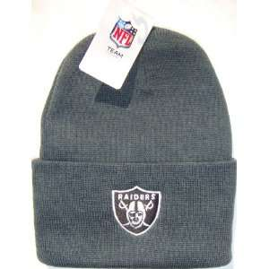 Oakland Raiders NFL Long Beanie Knit Cap Hat Charcoal Grey