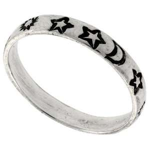 Sterling Silver Thin Stars, Moon & Sun Ring Band (Available in Sizes 6
