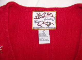 Collectible Womens Red Christmas Vest Presents Teddy Bear Sz L