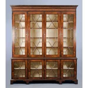 Large Antique Style Mahogany & Glass Bookcase Furniture & Decor