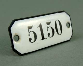 POST BOX LOCKER PORCELAIN TIN BLACK WHITE SIGN NUMBER No