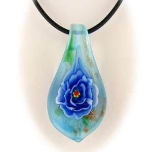 Blue Murano Glass Flower Pendant Rubber Cord 18 Inch Necklace Sterling