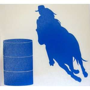 Sm Blue Barrel Racer Racing Horse Rodeo Cowgirl Decal