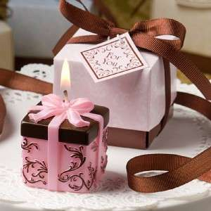 24 Brown & Pink Gift Box Candle Baby Shower Favor