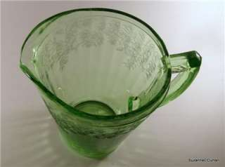 Glass CHERRY BLOSSOM Green Depression Glass 36 oz Pitcher