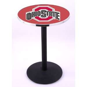 Ohio State University Buckeyes Pub Table With Chrome Edge