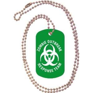 Zombie Outbreak Response Team Green Dog Tag with Neck