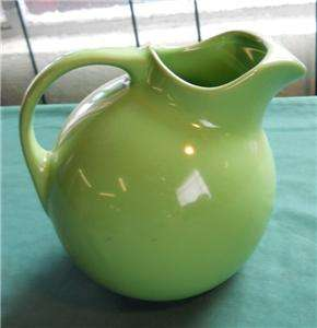 1930S 633 PHOENIX GREEN STONEWARE BALL WATER PITCHER USA EWER