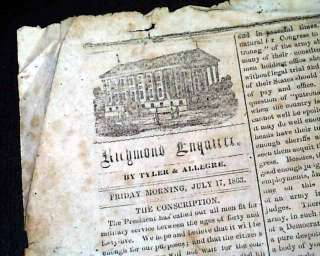 Gettysburg Picketts Casualties 1863 Confederate Civil War Newspaper