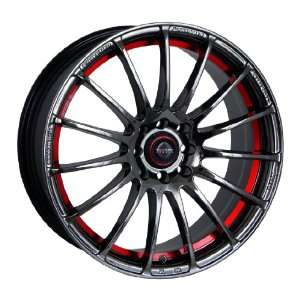 TRAKLite Vortex 17X7 4X100/114 ET40 Black Chrome Red