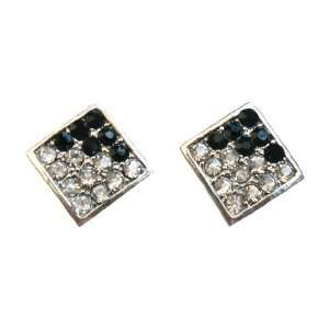 Iced Bling Square Black & Clear Hip Hop Earrings