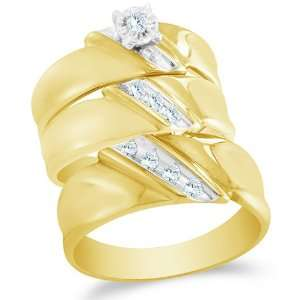 Size 13   10K Two Tone Gold Diamond Mens and Ladies Couple