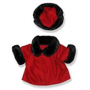 Red Velvet Coat and Hat Teddy Bear Clothes Fit 14   18