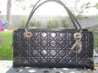 Christian DIOR Lady DIOR Black Cannage Leather Bag/ Tote Retail $2200