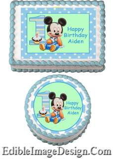 BABY MICKEY 1ST Edible Party Birthday Cake Image Cupcake Topper Favor