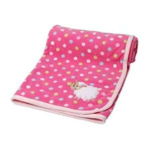 Carters Cuddle Me Pink Polka Dot Sheep Fleece Baby Girl Blanket Baby