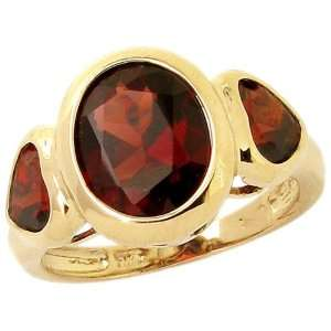 Gold Oval and Heart Three Stone Ring Garnet, size7 diViene Jewelry
