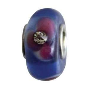 Amanda Blu Glass Bead 1/Pkg Blue Crystal Pink Flower; 3