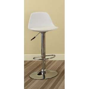 White & Chrome Finish Air Lift Adjustable Modern Bar Stool