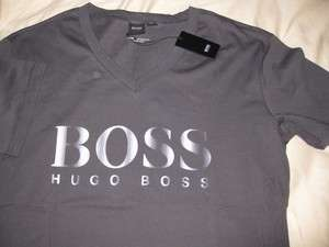 NEW NWT Mens Hugo Boss Black Label Grey Tee Beach Logo V Neck T shirt