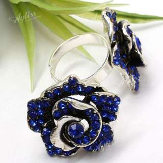 1PC Blue Crystal Rose Flower Bead Adjustable Finger Ring Tibetan