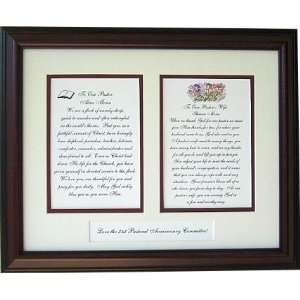 Pastor and Pastors wife personalized framed poems