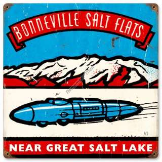 Bonneville Salt Flats vintage looking racing metal sign