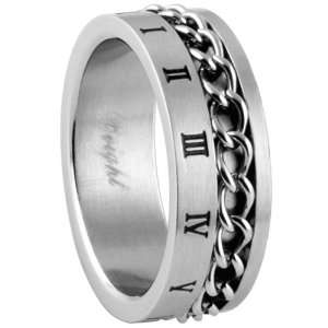 316L Stainless Steel Ring   Roman Numeral   Width 8mm