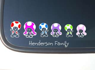 Super Mario TOAD Family Stick Figure Vinyl Car Decal