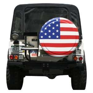31 American Flag Spare Tire Cover   Molded Plastic Face   Boomerang