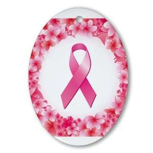 Ornament (Oval) Cancer Pink Ribbon Flower