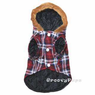 918 XS~XL Red Hooded Padded Flannel Coat /Dog Clothes