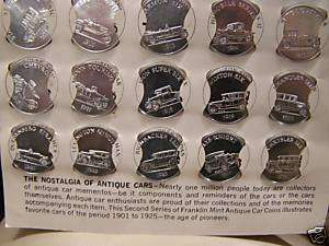 1969 FRANKLIN MINT SILVER ACCENTED ANTIQUE CAR COINS