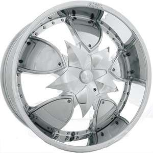 22 SHOOZ 004 CHROME WHEELS Rims+Tires PACKAGE 5X114.3 5X120.65