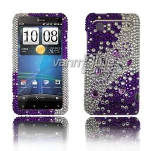 VMG HTC Vivid BLING Case Cover 3 ITEM COMBO Purple Silver Rhinestones