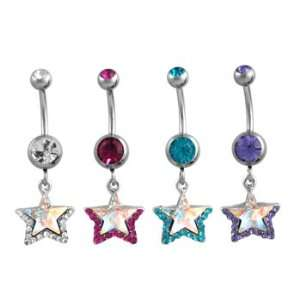 Silver Stars with Turquoise Colored Jewels Dangle Belly Ring   14g (1