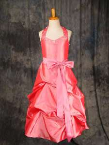 G169R Halter Pink Pageant Girl Dress Flower Girl Dress
