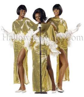 Motown Diva Adult Costume includes Gold Sequin gown and poncho with