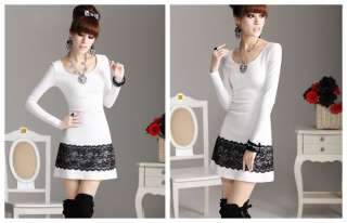 Women Fashion Pretty Lace Flounce White Round Neck Cotton Dress