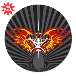 3 Lapel Sticker (48 Pack) Star Skull Flaming Wings