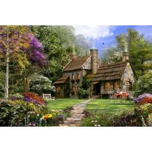 Old Flint Cottage 250 Piece Wooden Jigsaw Puzzle Toys
