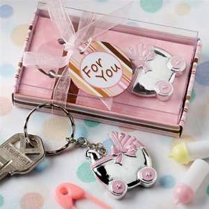 Pink Baby Carriage Key Chain Favors Health & Personal