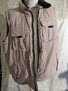 Eddie Bauer Tan Quilted GOOSE DOWN Cargo Pocket VEST Tan Size XL Tall