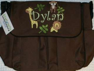 Personalized Baby Diaper bag 4 bag colors Jungle Safari